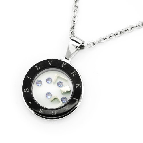 Silverkings Stainless Steel Cubic Zirconia Cz Crystal Flywheel Personalized Character Women Necklace (22')