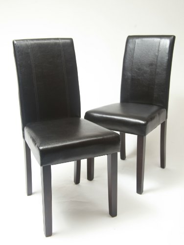Very Cheap Roundhill Urban Style Solid Wood Leatherette Padded Parson Chair Black Set Of 2 For Sale Top 10 Best Dining Table With Round Glass Top In Rich Cappuccino Coaster In The World