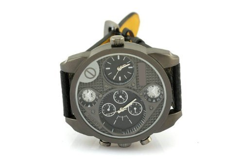 Fashion Men'S Military Watch Black Leather Band front-592063
