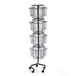 Safco - Wire Rotary Display Racks 32 Compartments 15W X 15D X 60H Charcoal \