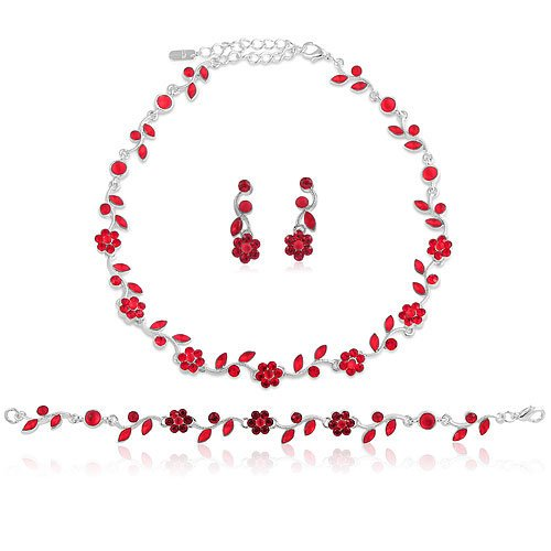 Silver Tone Red Crystal Accent 3-Piece Necklace Earrings Bracelet Set