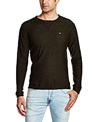 Lee Men's Synthetic Sweater (8907222303952_LESW1759_XX-Large_Olive and Black)