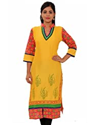 MSONS Womens Yellow With Embroidered Neck Multi Printed Long Rayon Kurti