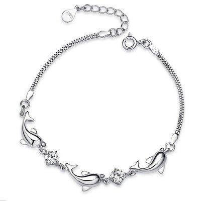 fashmond bracelet femme fille dauphin argent fin 925 oxyde de zirconium cadeau saint valentin. Black Bedroom Furniture Sets. Home Design Ideas