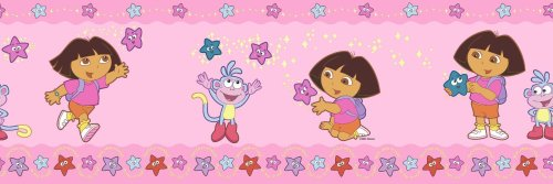 Brewster 147B02146 Dora Stars Pink Wall Border, Nickelodeon - 1