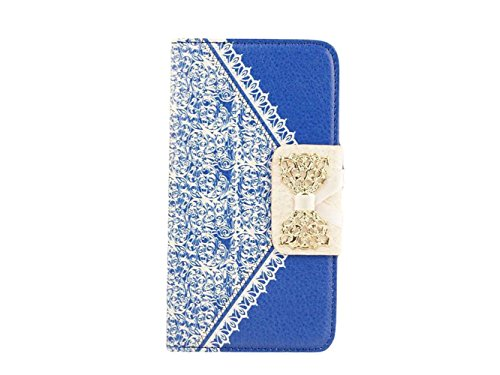 """Queens® Luxury Brand Designer Sweet Bowtie & Ribbon Pu Leather Stand Diamond Bowknot Wallet Case Cover For Iphone 6 (5.5"""" Inch) Case Wallet Flip Cover With Card Slot&Strap For Apple Iphone6 5.5 Inch And Clearly Screen Protector With Touch Pen (1-Dark Blue"""