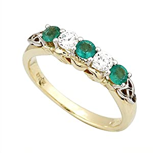 Diamond & Emerald Claddagh Ring 14K Gold-Size 9