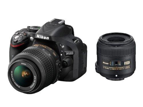 Nikon デジタル一眼レフカメラ D5200 標準ズーム+マイクロレンズキット AF-S DX NIKKOR 18-55mm f/3.5-5.6G VR/AF-S DX Micro NIKKOR 40mm f/2.8G付属 ブラック D5200LKMCBK