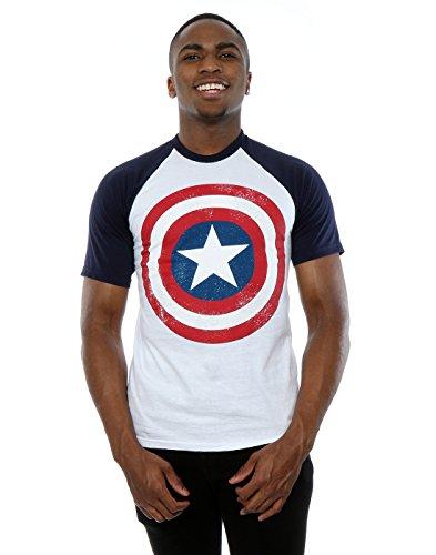 Marvel Uomo Captain America Distressed Shield Baseball T-shirt Large Bianco / blu scuro