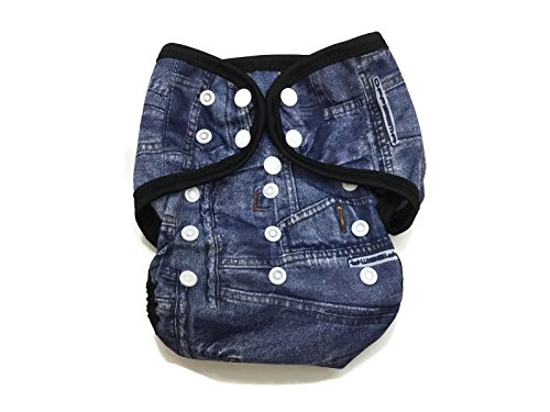 BB2 Baby One Size Printed Black Gussets Snaps Cloth Diaper Cover for Prefolds (One Size, Jeans (Denim)) - 1