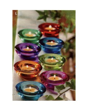 GLASS JEWEL-TONE TEALIGHT CANDLE HOLDERS - 2 RED, 2 PINK, 2 YELLOW and 2 BLUE (SET OF 8)