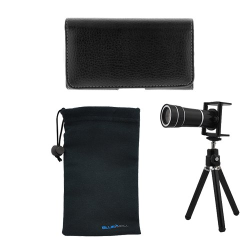 GTMax Universal 10X Optical Zoom Telescope + Tripod Stand + Universal Horizontal Pouch Case + Microfiber Pouch Case for Samsung Rugby Smart i847,Galaxy S2 / SII I9100,I535,Focus 2 SGH-I667,S Aviator R930,S Blaze 4G