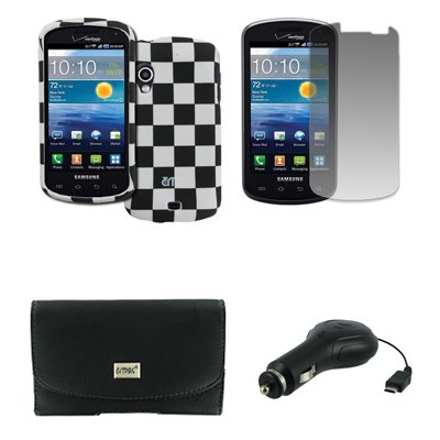 Samsung Stratosphere Schwarz Ledertasche Case Pouch with Belt Clip and Belt Loops Gummierte Snap-On Hartschale Tasche Hülle Schutzhülle Schwarz and Weiß Checkered Displayschutz Folie Retractable Chargeur de Voiture CLA EMPIRE Packaging
