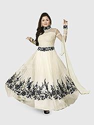 KD Enterprise White Designer Anarkali Dress for Women