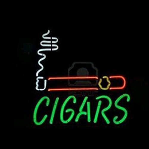 New Cigars Neon Light Sign Real Glass Tube Beer Bar Pub Sign18X15 Inches Hand-Made Handcraft