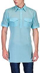 Gazi Men's Khadi Cotton Pathani Kurta (GFSK_201506_40, Light Blue, 40)