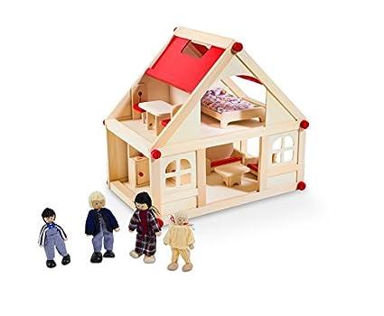 Dollhouse avec des meubles 9 et 4 poupées
