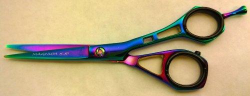 "5.5"" Professional Hair Dressing Cutting Barber Scissors Shears Magnum Titanium Rainbow Free Rings front-325636"
