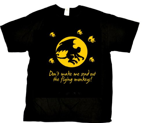 Beach Graphic Pros Don't Make Me send Out The Flying Monkeys Humorous Novelty Adult T-shirt-X-Large, Black