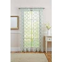 Better Homes and Gardens Sheer Trellis Curtain Panel (Green Juniper)