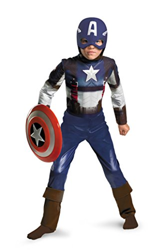 Boys Captain America Classic Kids Child Fancy Dress Party Halloween Costume