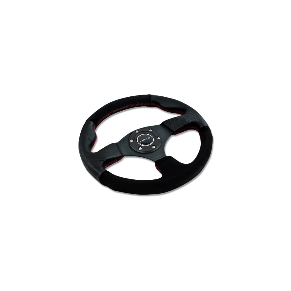 NRG Innovations, ST 012R S, 320mm 6 Hole Racing Steering Wheel Black Leather Suede Grip Red Stitch with Horn Button ST 012R S Automotive