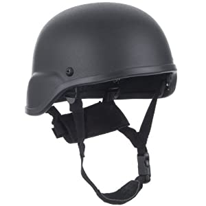 Army Patrol Tactical US Combat Helmet MICH Type Head Protection Fiberglass Black from Mil-Tec