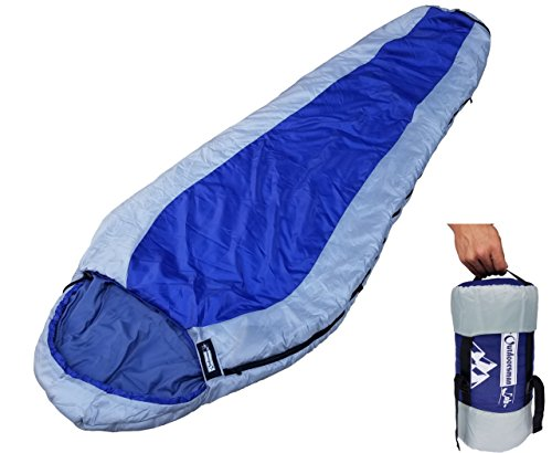 OutdoorsmanLab Ultralight 32F Mummy Sleeping Bag For Backpacking, Hiking, Travel- 3-4 Season lightweight Compact Packable bag with Compression Sack For Kids Adults Men Women (Blue) (Lightweight Sleeping Quilts compare prices)