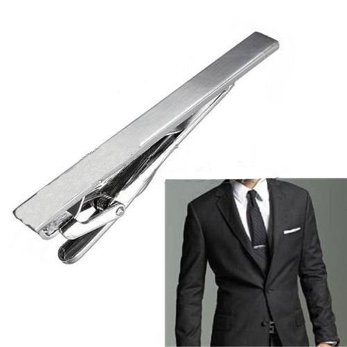 Gentleman Silver Metal Simple Practical Plain Necktie Tie Clip Bar Clasp USA (Invisible Force United compare prices)