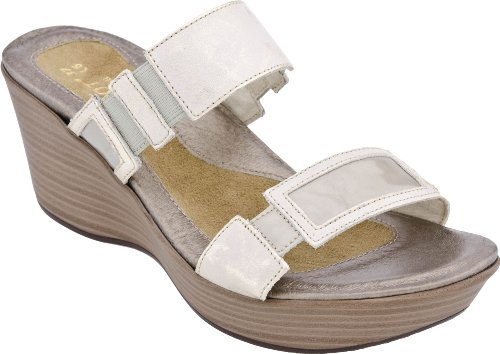 Naot Women's Treasure Sandals,Dusty Silver Leather/Pearl Patent Leather,37 M EU
