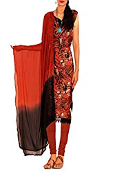 Unnati Silks Women black-brown chanderi silk salwar kameez dress material