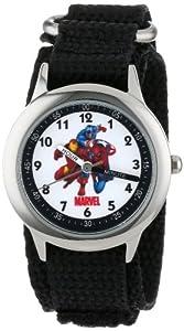 Marvel Comics Kids' W000145 Captain America,  Tony Stark & Spider-Man Stainless Steel Time Teacher Watch