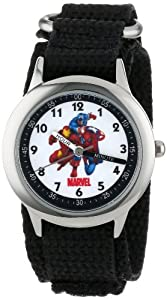 Marvel Comics Kids' W000145 Captain America,  Tony Stark & Spider-Man Stainless Steel Time Teacher Watch