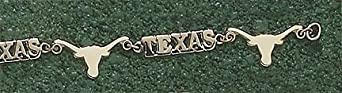 Texas Longhorns Alternating Longhorn and Texas 7.5 Bracelet - 14KT Gold Jewelry by Logo Art