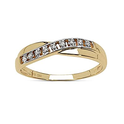The Diamond Ring Collection: Beautiful 9CT Gold Channel Set Diamond Crossover Eternity Ring