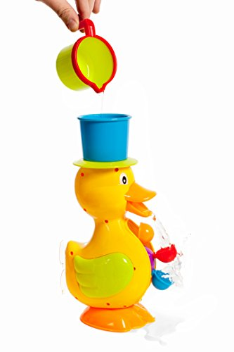 Suctioned Duck Bathtub toy with 5 cups and spinning water wheel - 1