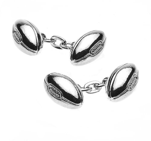 Christopher Simpson Silver Plated Rugby Ball Cufflinks
