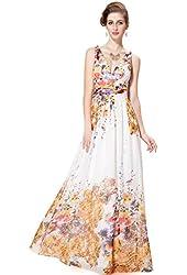 Ever Pretty Double V-neck Printed Empire Waist Maxi Summer Dress 08426