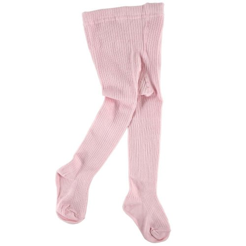 Cotton Rib Tights For Baby, Pink, 18-24 Months