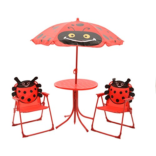 Kinder Gartenset Camping Gartenmöbel 2 Klappstühle 1 Tisch 1 Sonnenschirm Motiv Marienkäfer