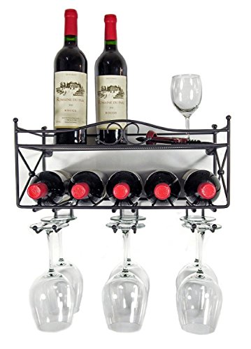 Mango Steam Wall-mounted Wine Rack with Shelf and Stemware Glass Holder (Wall Mounted Stemware Rack compare prices)