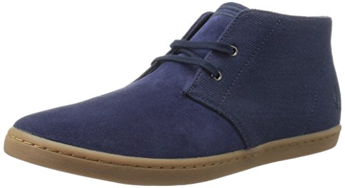 Fred Perry Men's Byron Mid Suede Woven Canvas Chukka Boot, Carbon Blue/Navy, 9.5 UK/10.5 D US (Perry Shoes compare prices)