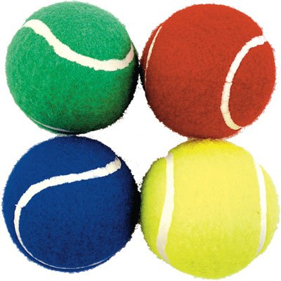 BAG OF 12 COLOURED TENNIS BALLS