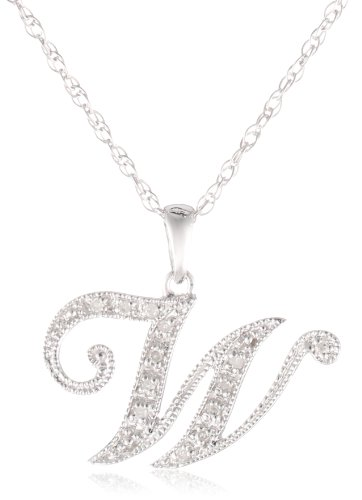 Sterling Silver Initial W Diamond Pendant Necklace (0.04 Cttw, I-J Color, I2-I3 Clarity), 18""