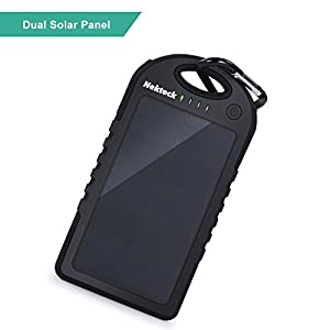 [Upgraded Version] Solar Charger, Nekteck 6000mAh Dual High-Efficiency SunPower Solar Panel Power Bank with 2 USB Ports Portable Charger Battery Backup Power Pack for All USB Supported Devices, Black