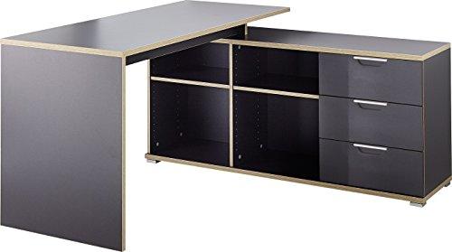 Germania 4081 58 schreibtisch holz anthrazit 145 x 145 x for Schreibtischplatte schwarz