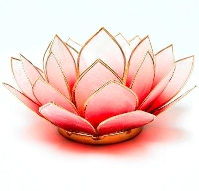 Porta candele a forma di fiore di loto, colore: rosso & bianco con bordatura dorata