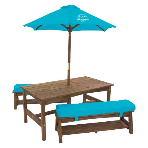 Kidkraft sun smarties kids picnic table benches with - Children s picnic table with umbrella ...