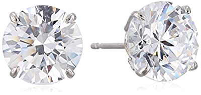 10k Gold Swarovski Zirconia Stud Earrings (3 cttw)