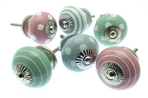 Set misto di pomelli per cassetti e comodini in ceramica rosa eau de nil e grigio pezzi 6 mg - Pomelli ceramica per cucina ...